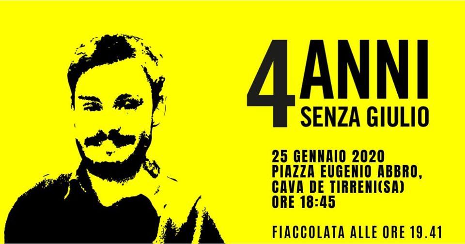Fiaccolata per Giulio Regeni a Cava de'Tirreni, manifesto dello scorso anni