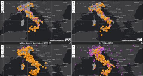 Rete Sismica Nazionale: una story map ne descrive l'evoluzione