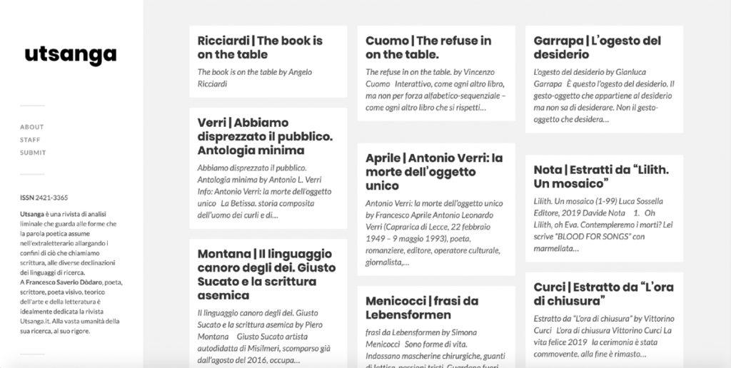 Intervista a Francesco Aprile di «Utsanga»