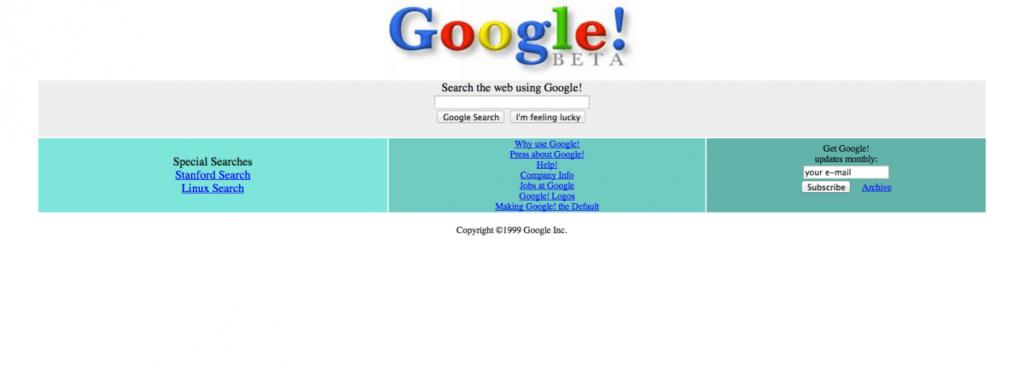 Beta di Google.com nel 1997