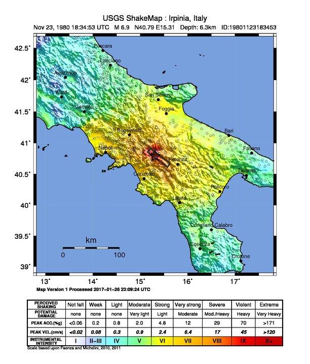 Mappa dell'epicentro Mainshock secondo la scala Mercalli-Cancani-Sieberg