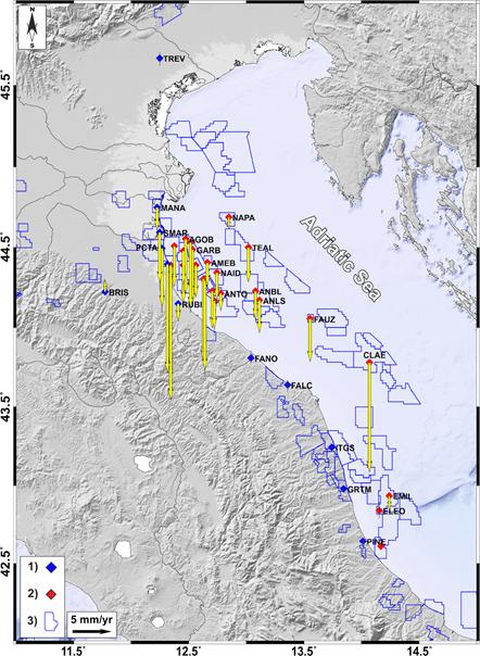 Deformazione del suolo nell'Adriatico settentrionale: il database