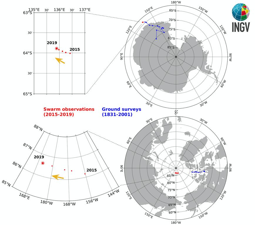 Il veloce viaggio del Polo Nord magnetico verso la Siberia