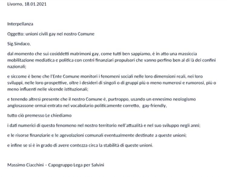 Collesalvetti, la Lega chiede di schedare i matrimoni gay, reazioni e sdegno