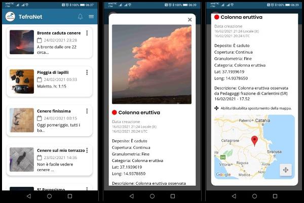 TefraNet, l'App per il monitoraggio delle emissioni di cenere vulcanica