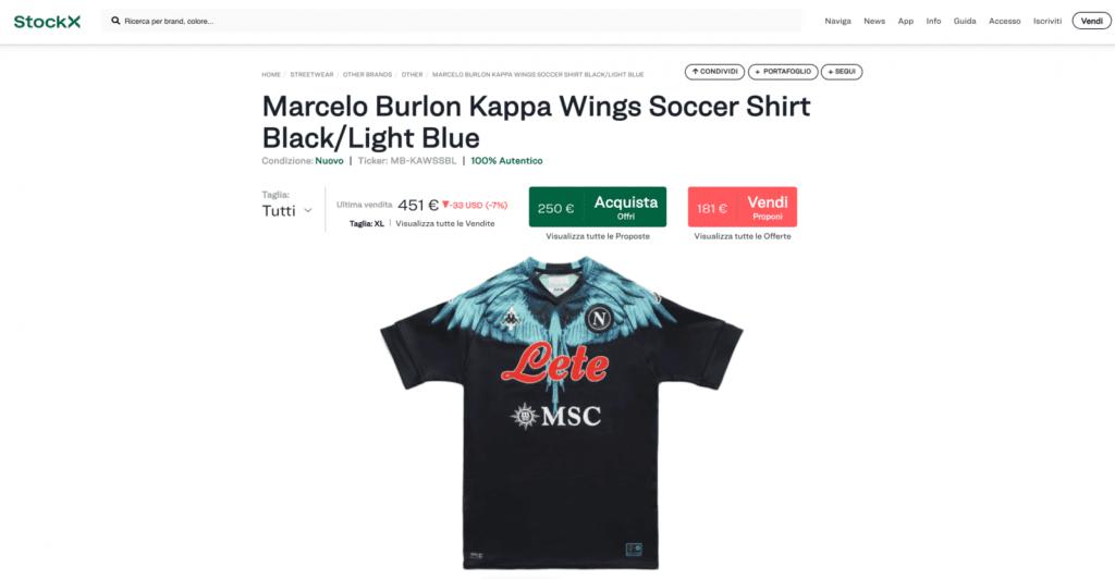 Napoli e Marcelo Burlon, le maglie speciali e il successo di vendite