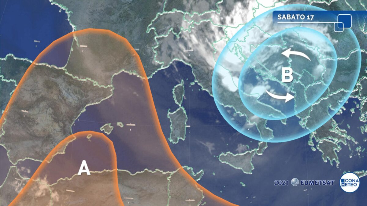 Forti temporali al Centro-Sud, tempo più stabile al Nord-Ovest